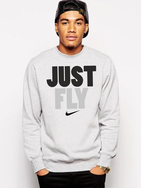 Свитшот серый Nike ( Найк ) Just Fly