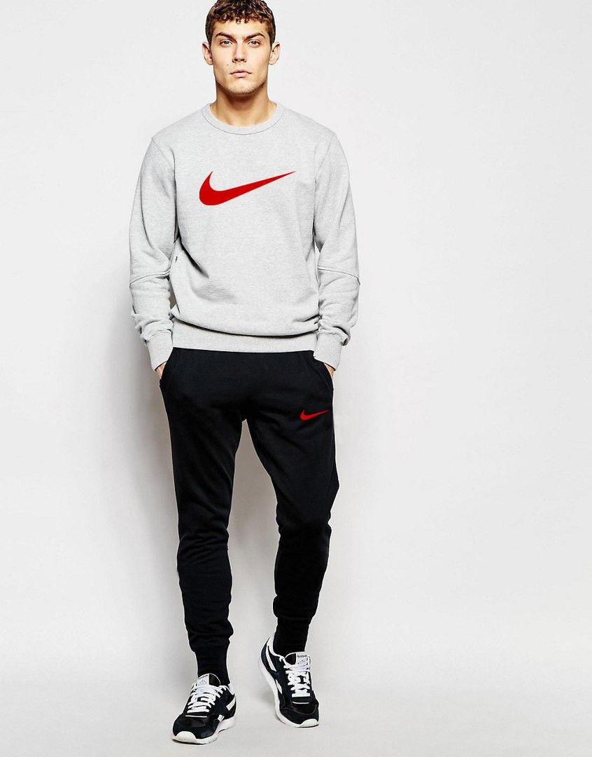 Мужской спортивный костюм Nike серый свитшот красная галочка