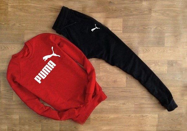 Чоловічий спортивний костюм PUMA червоний світшот позначка+ім'я