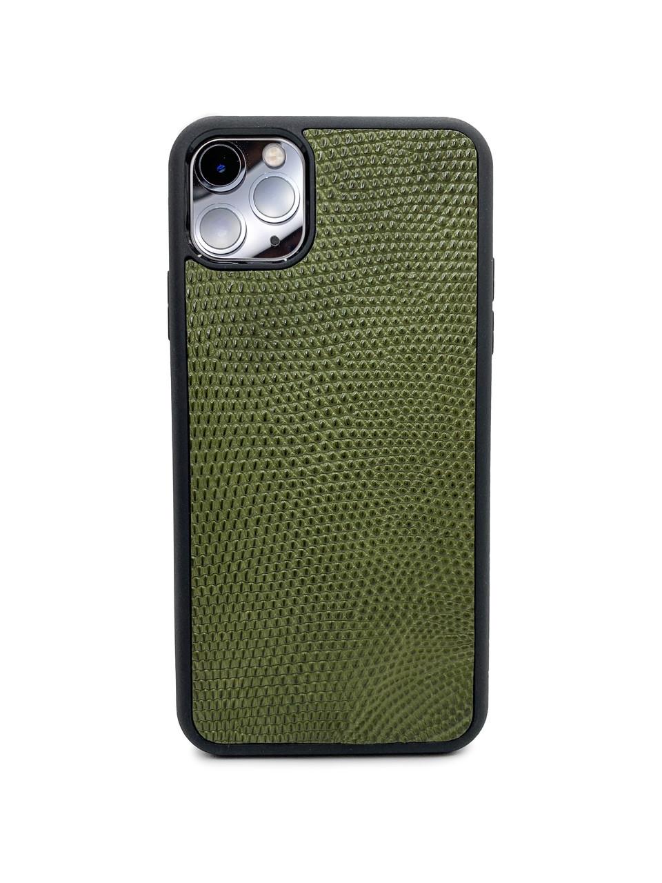 Чохол для iPhone 11 Pro Max кольору хакі зі шкіри Ігуани