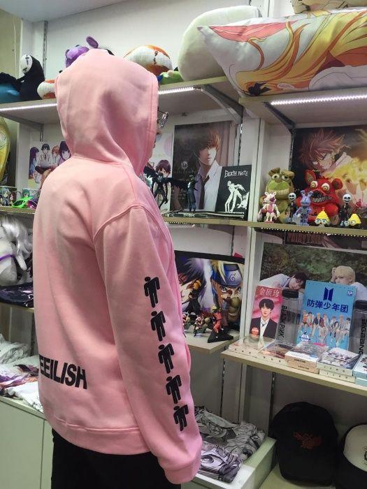 Толстовка Billie Eilish (Билли Айлиш) розовая (мужская,женская,детская)