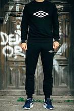 Чоловічий чорний костюм Umbro білий принт