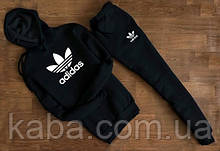 Мужской чёрный спортивный костюм Adidas с капюшоном