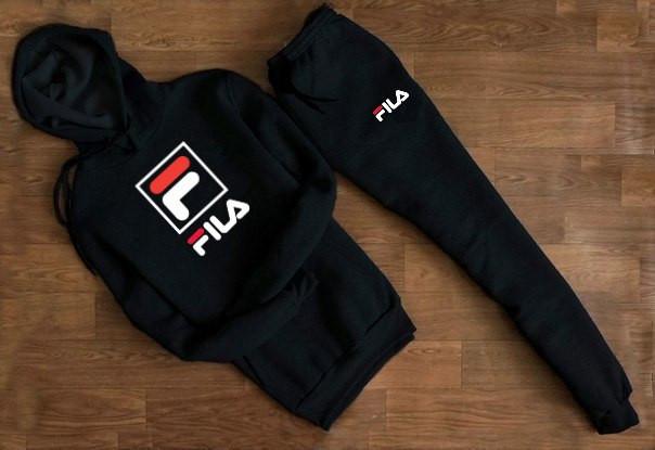 Cпортивный чёрный костюм в стиле FILA F с капюшоном
