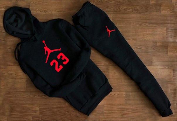 Мужской черный спортивный костюм Jordan 23 с капюшоном (красное лого )