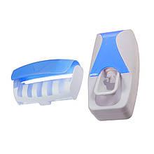 Дозатор для зубной пасты с держателем для щеток, голубой