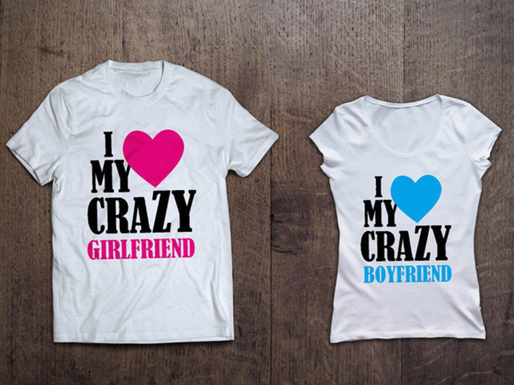 """Футболки парные для влюбленных   """"I love my Crazy"""""""