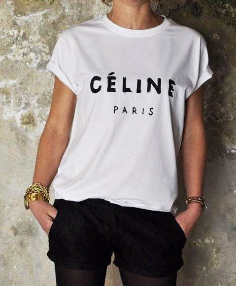 Женская Футболка Celine Paris Селин Париж ( Белая)