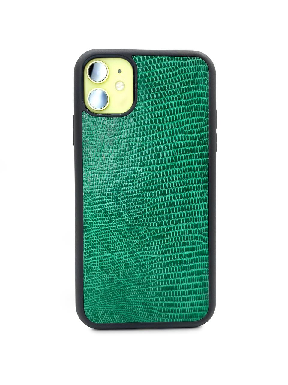 Чехол для iPhone 11 зелёного цвета из кожи Игуаны