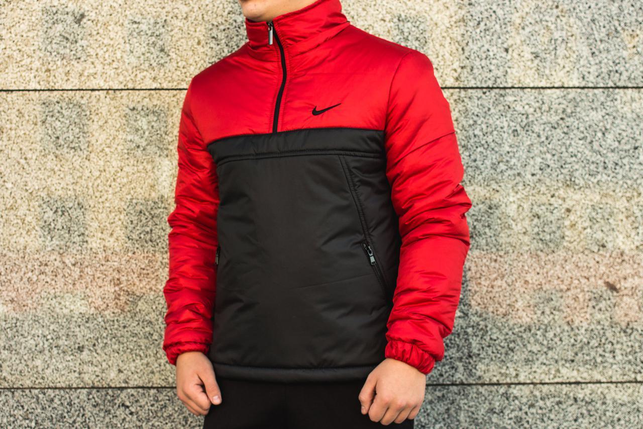 Анорак утепленный, куртка утепленная, ветровка утепленная красно-черная