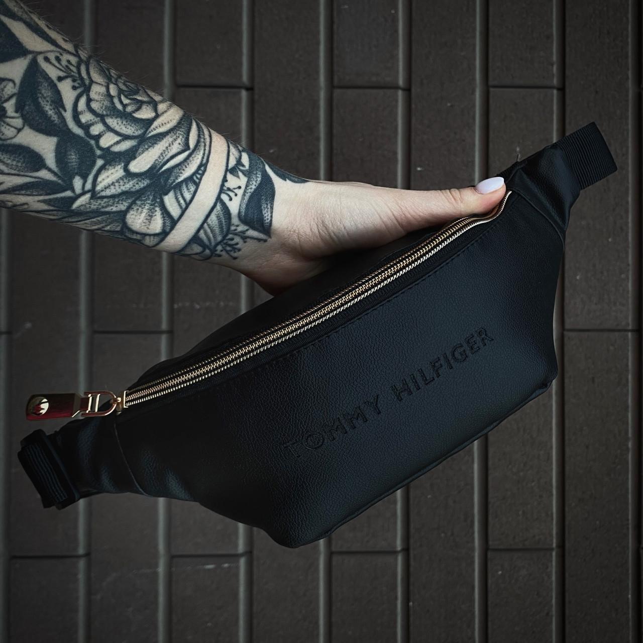 Бананка Tommy Hilfiger, сумка через плечо кожзам черная