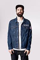 Джинсовая мужская куртка Feel and Fly Patch Dark Blue M Синий 0601200104, КОД: 1782135