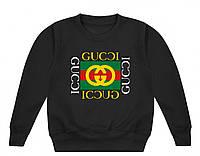 Свитшот Gucci черный с логотипом, унисекс (мужской,женский,детский)