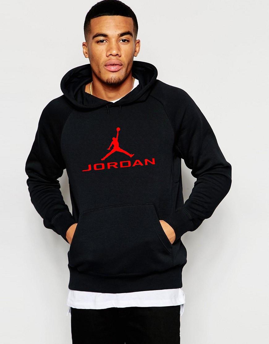 Худі Jordan ( Джордан ) | Чоловіча толстовка | Кенгурушка чорна, червоний принт