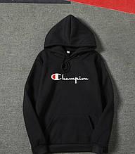Худи Champion черное, белое, серое с логотипом, унисекс (мужское, женское, детское)