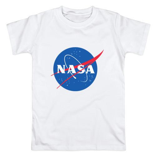 Футболка NASA белая с логотипом, унисекс (мужская,женская,детская)