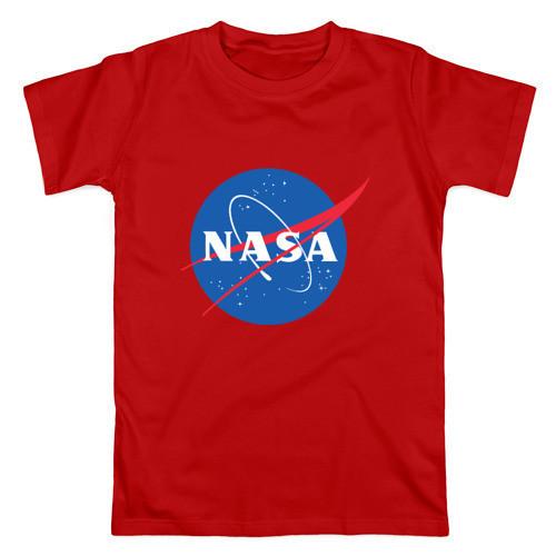 Футболка NASA красная с логотипом, унисекс (мужская,женская,детская)