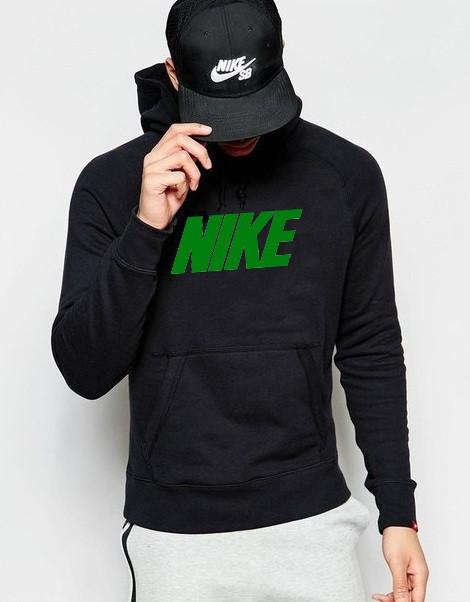 Худи Nike ( Найк ) | Мужская толстовка | Кенгурушка чёрная, зелёный принт