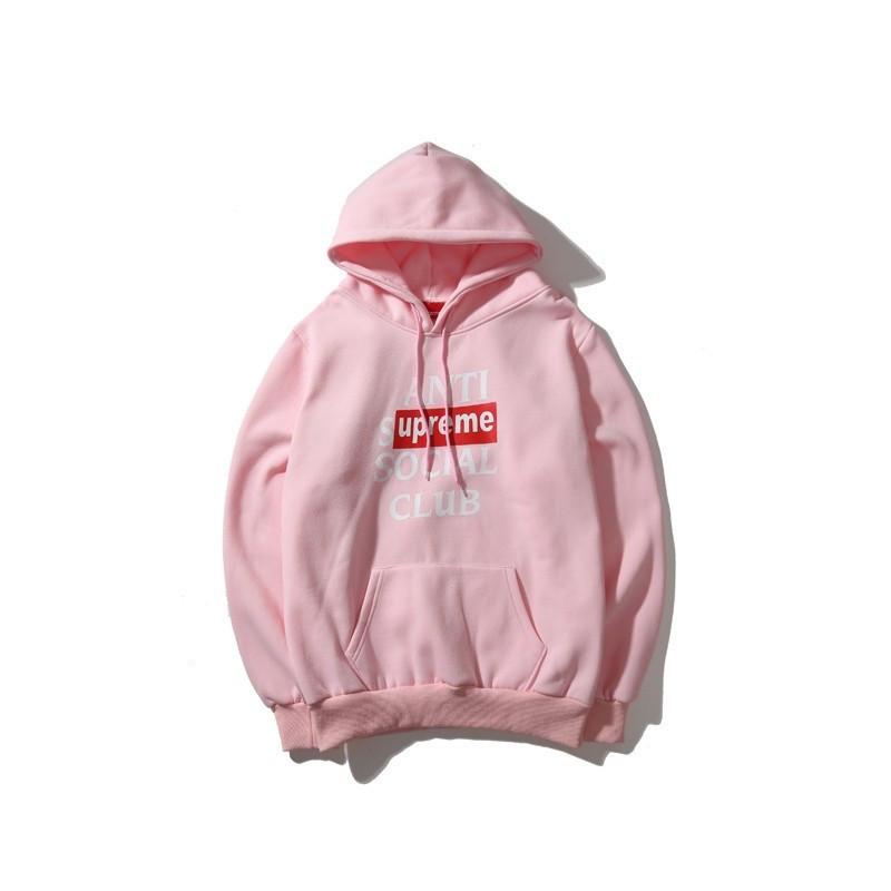Худи Anti social social club (A.S.S.C) ? Supreme, розовое с логотипом , унисекс (мужское, женское, детское)