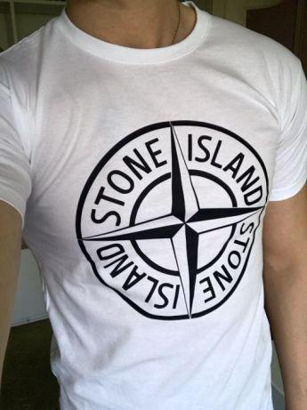 Футболка в стиле в стиле Stone Island, белая с логотипом, унисекс (мужская, женская, детская)