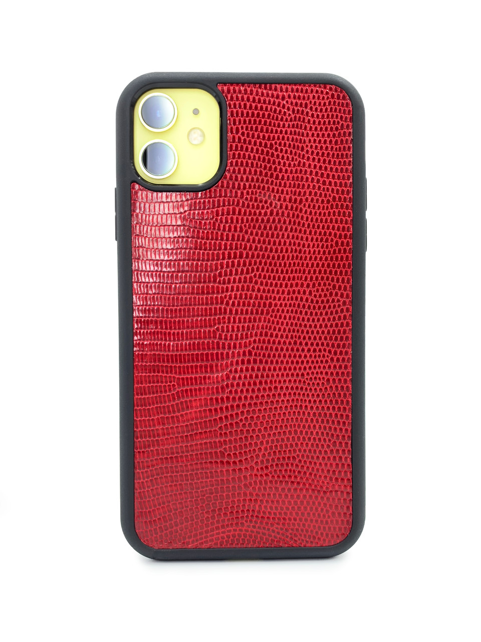 Чехол для iPhone 11 красного цвета из кожи Игуаны