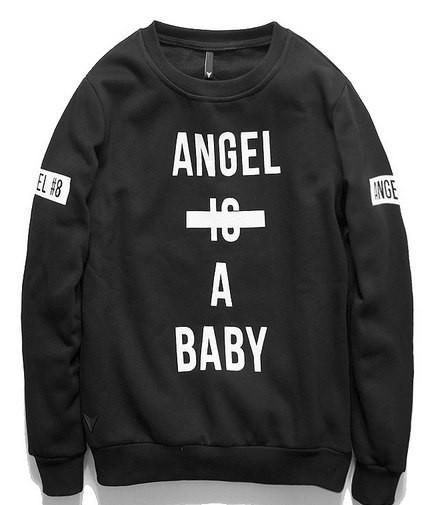 Свитшот черный мужской Angel is a baby | Кофта