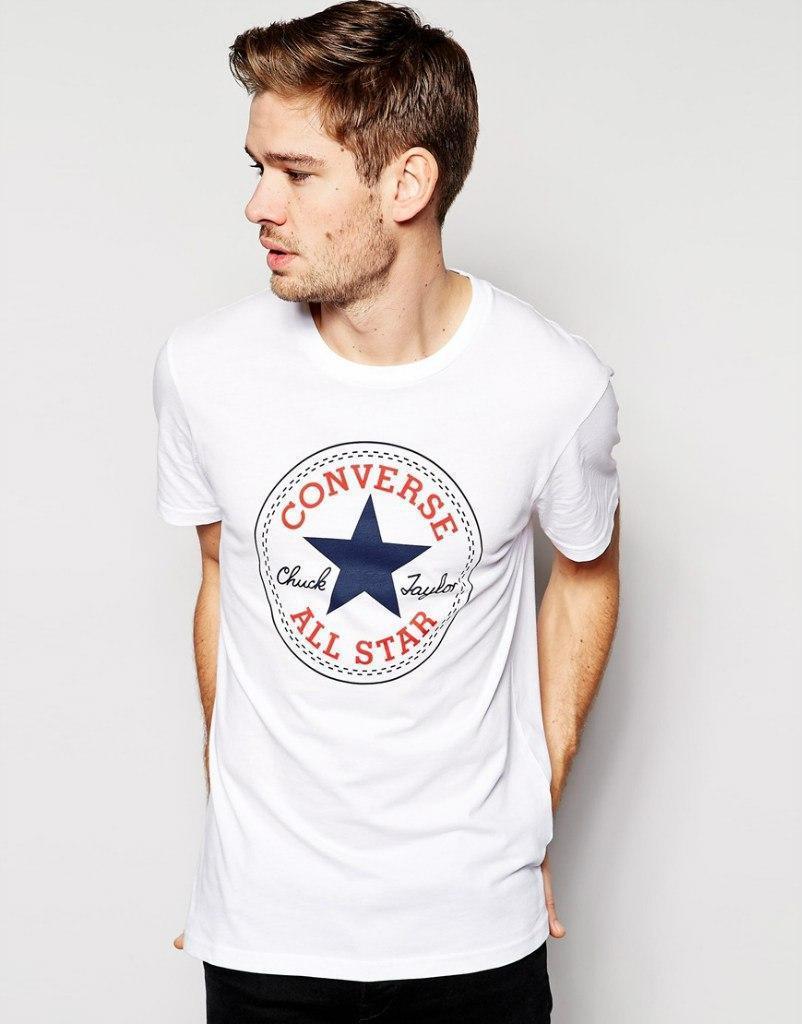 Футболкав стиле Converse белая мужская,женская