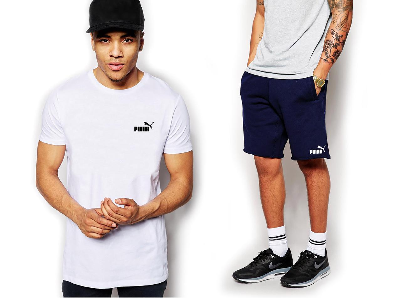Мужской комплект футболка + шорты PUMA белого и черного цвета