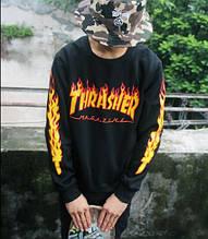 Світшот Thrasher Flame чорний | Кофта Трешер