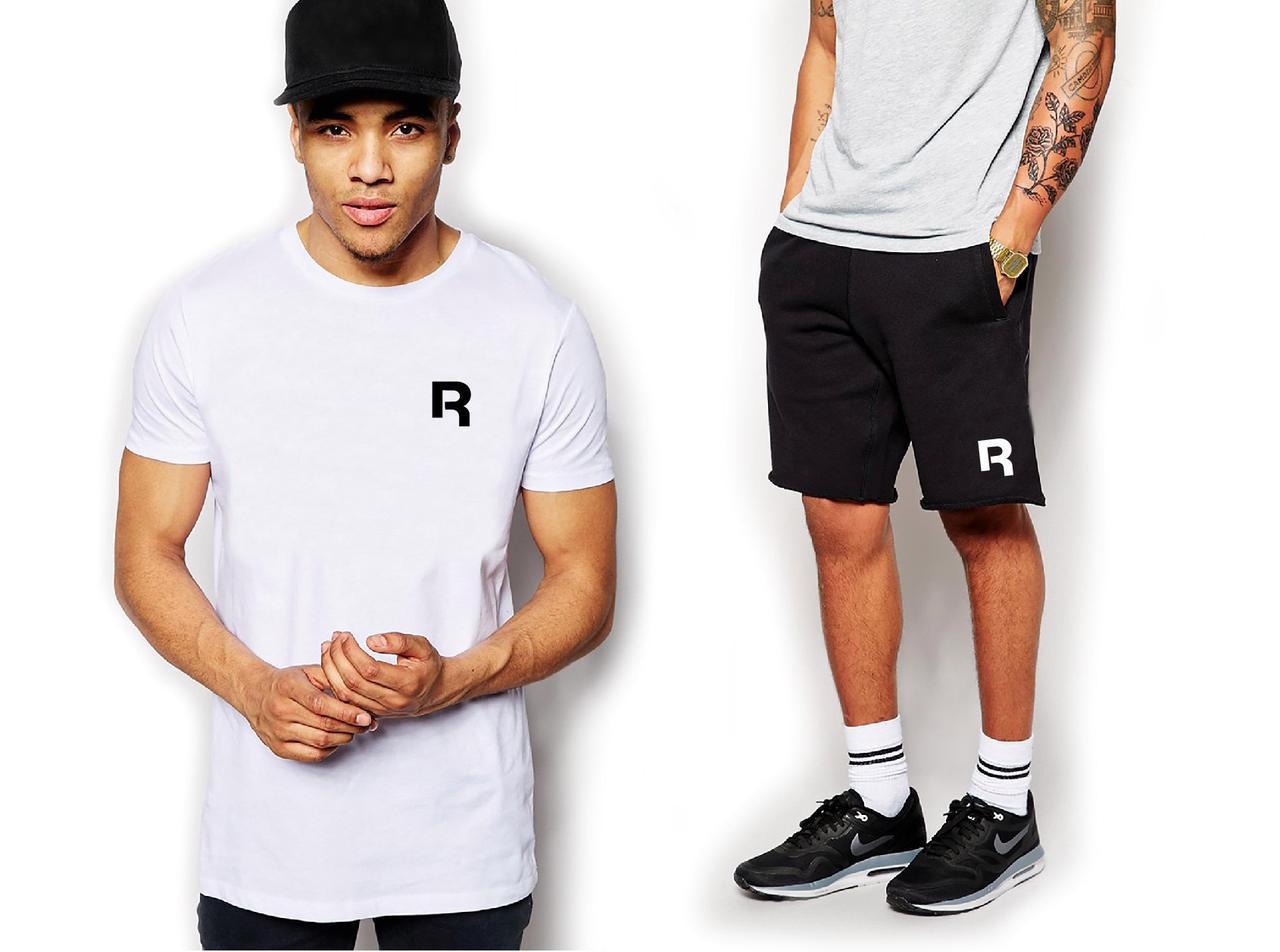Мужской комплект футболка + шорты REEBOK белого и черного цвета
