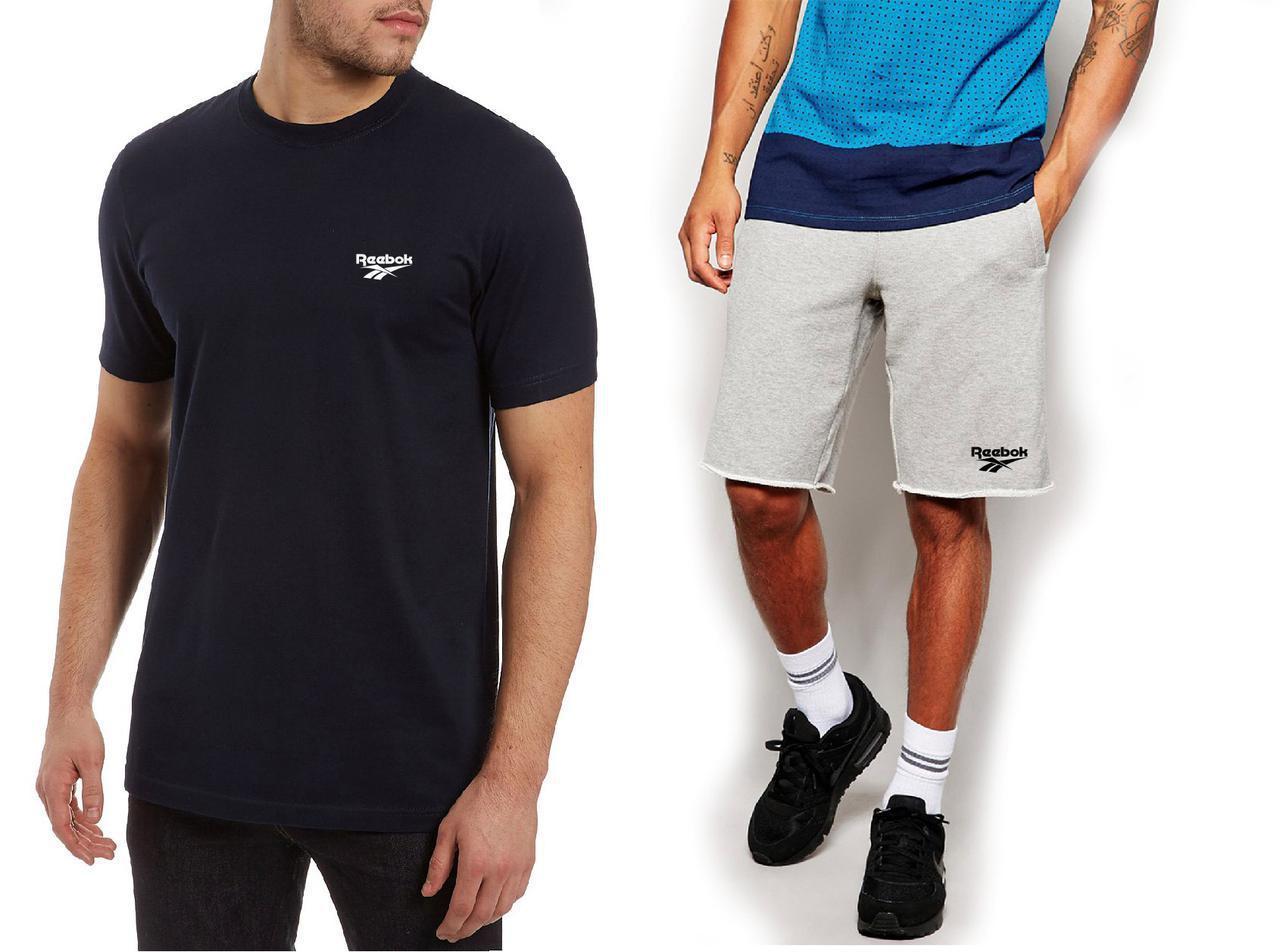 Мужской комплект футболка + шорты REEBOK серого и черного цвета