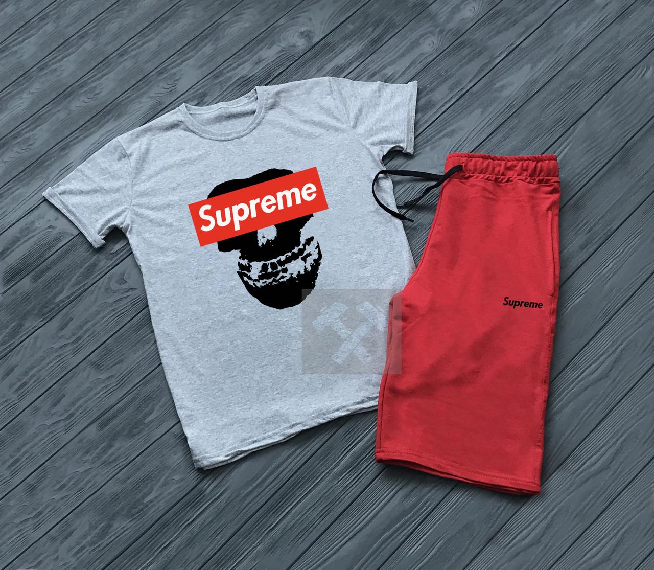 Мужской комплект футболка + шорты SUPREME красного и серого цвета