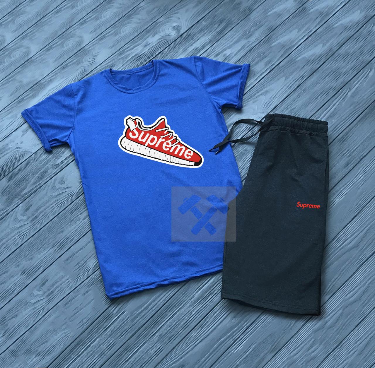 Чоловічий комплект футболка + шорти SUPREME синього і чорного кольору