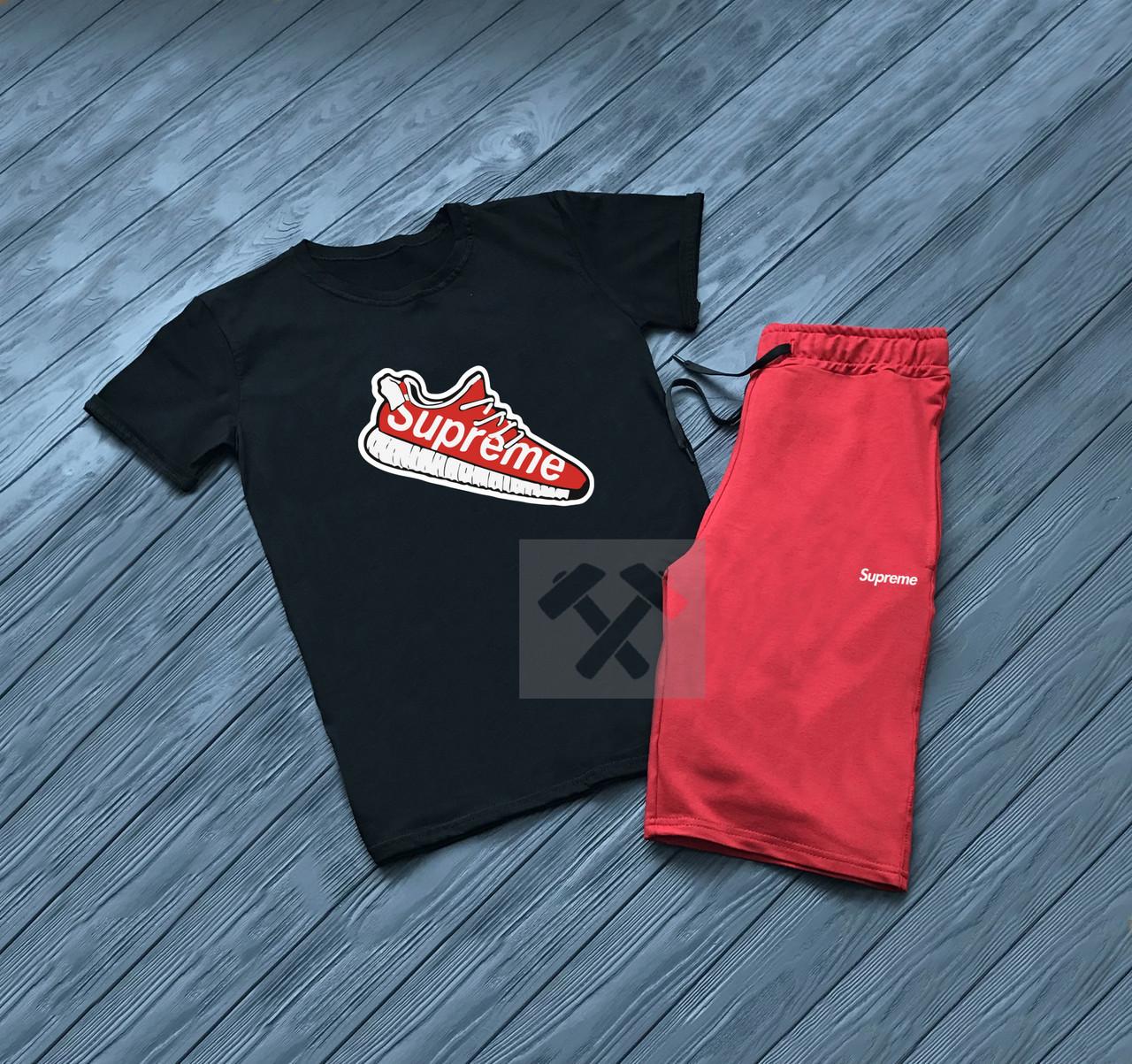 Мужской комплект футболка + шорты SUPREME черного и красного цвета