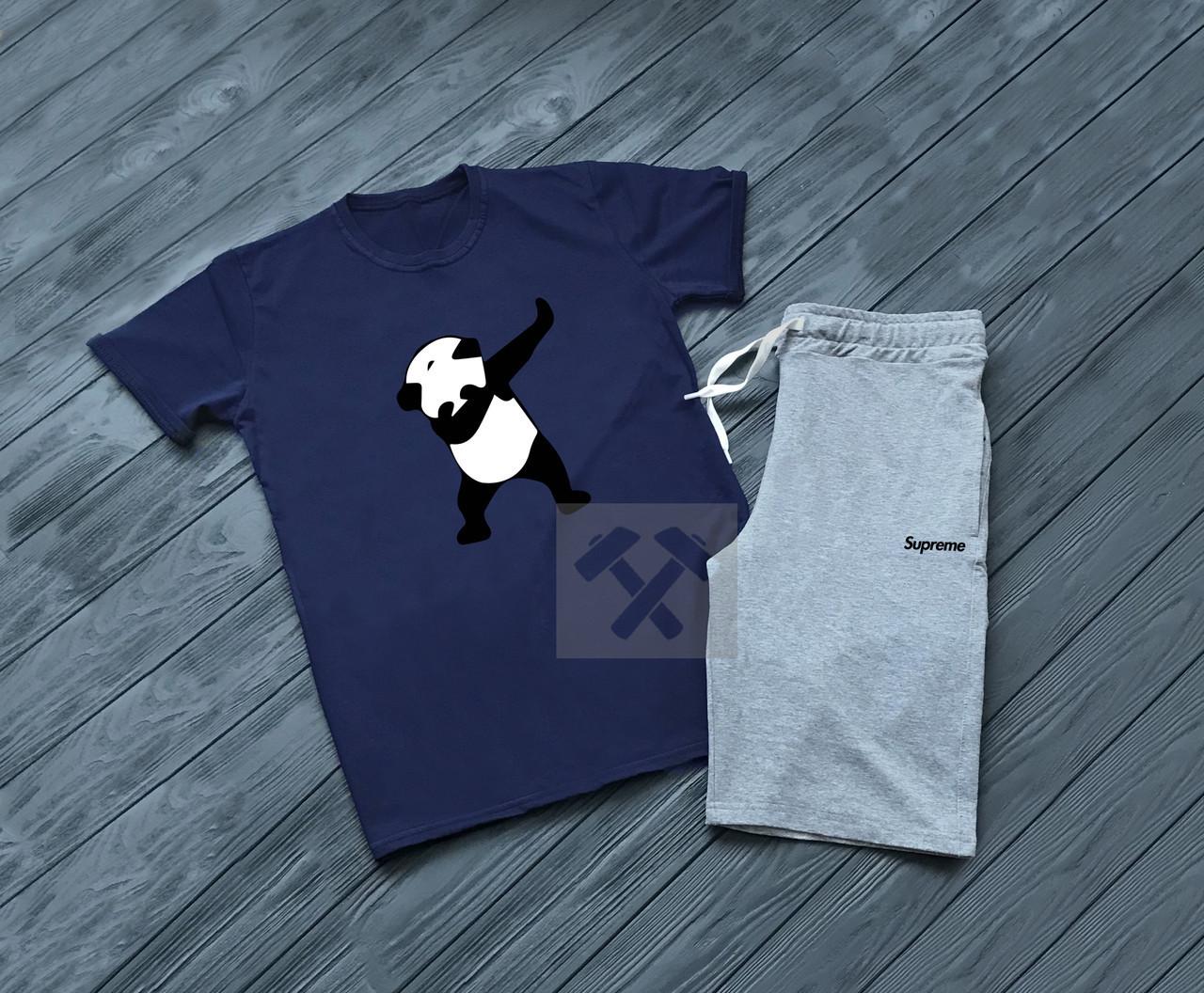Мужской комплект футболка + шорты SUPREME синего и серого цвета