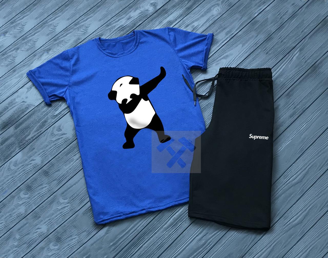 Мужской комплект футболка + шорты SUPREME синего и черного цвета
