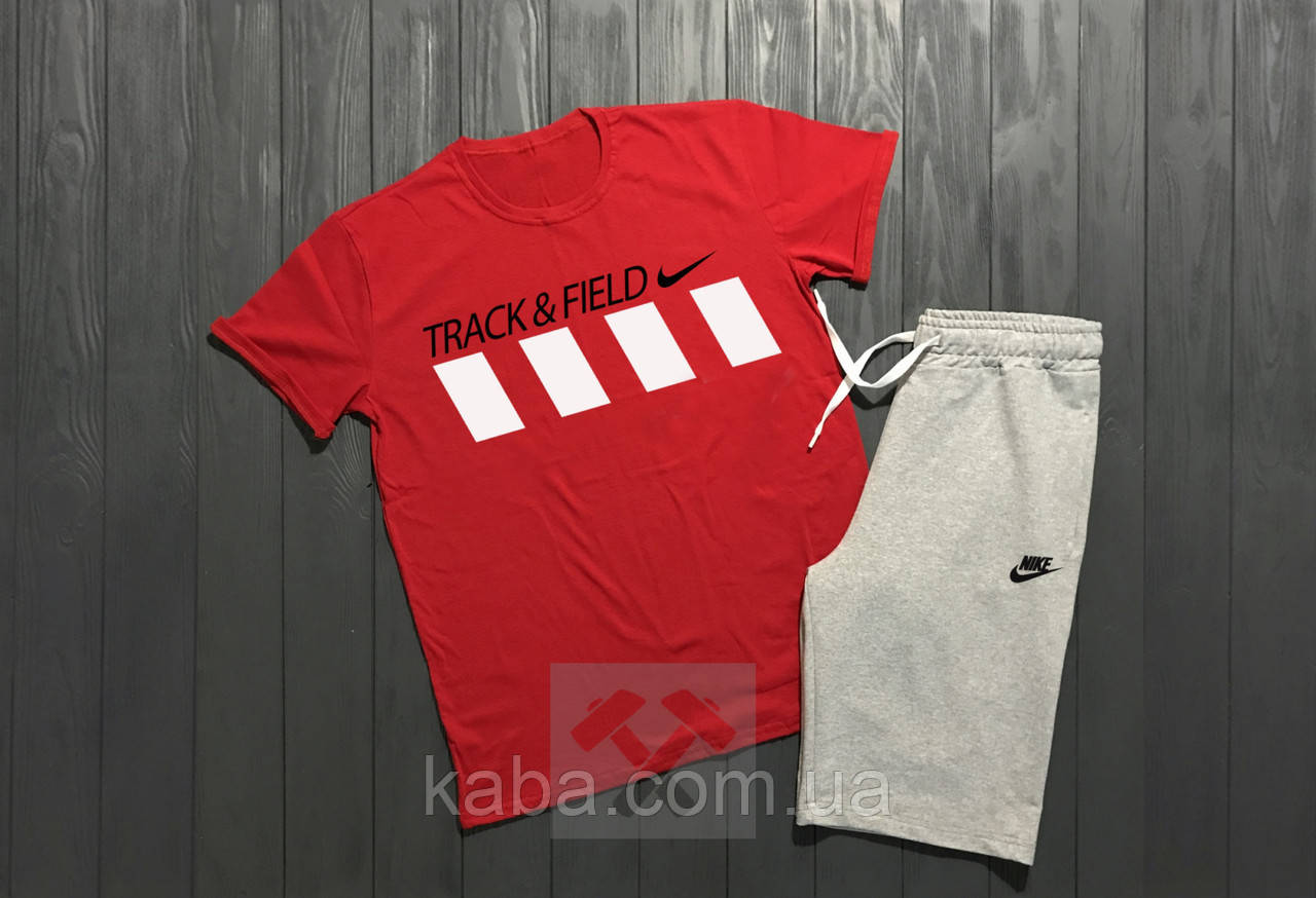 Мужской комплект футболка + шорты Nike красного и серого цвета