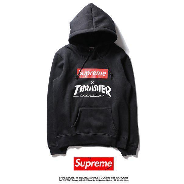 Худи Supreme & Thrasher черное с логотипом, унисекс (мужское, женское, детское)