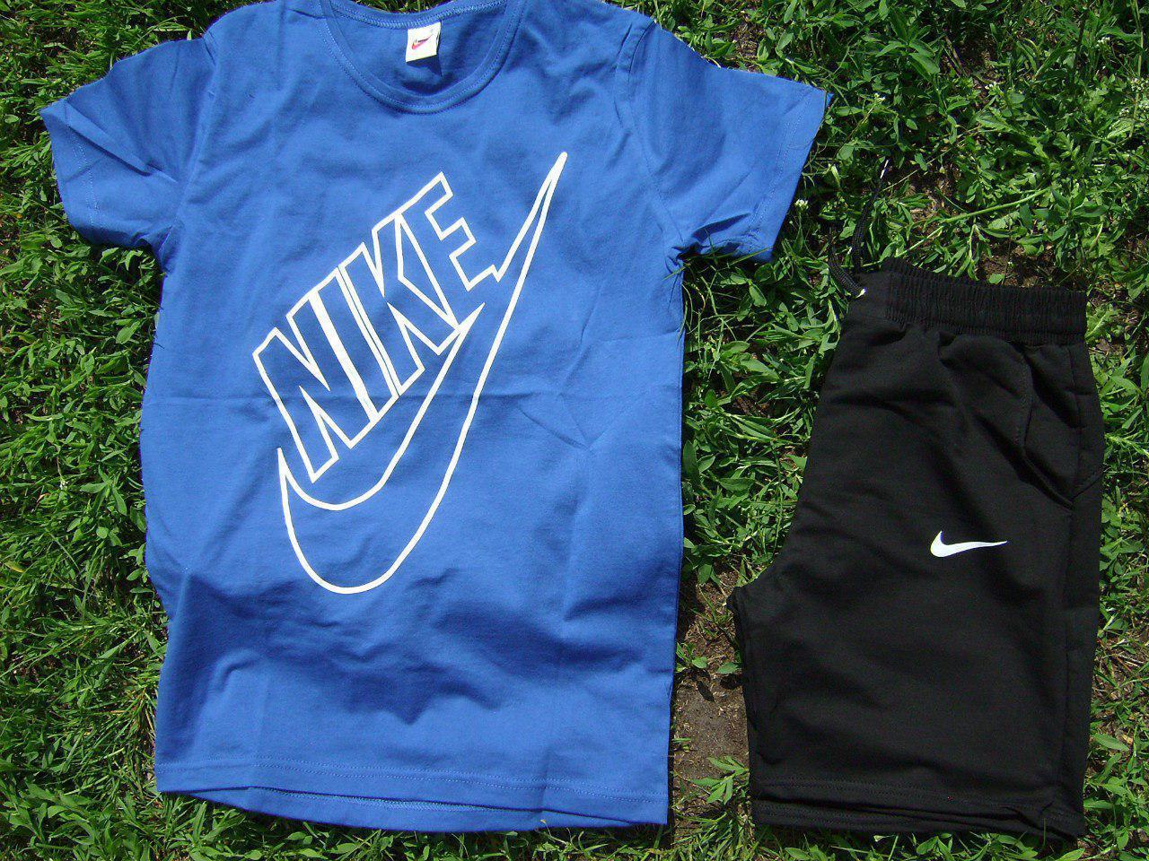 Мужской комплект футболка + шорты Nike синего и черного цвета