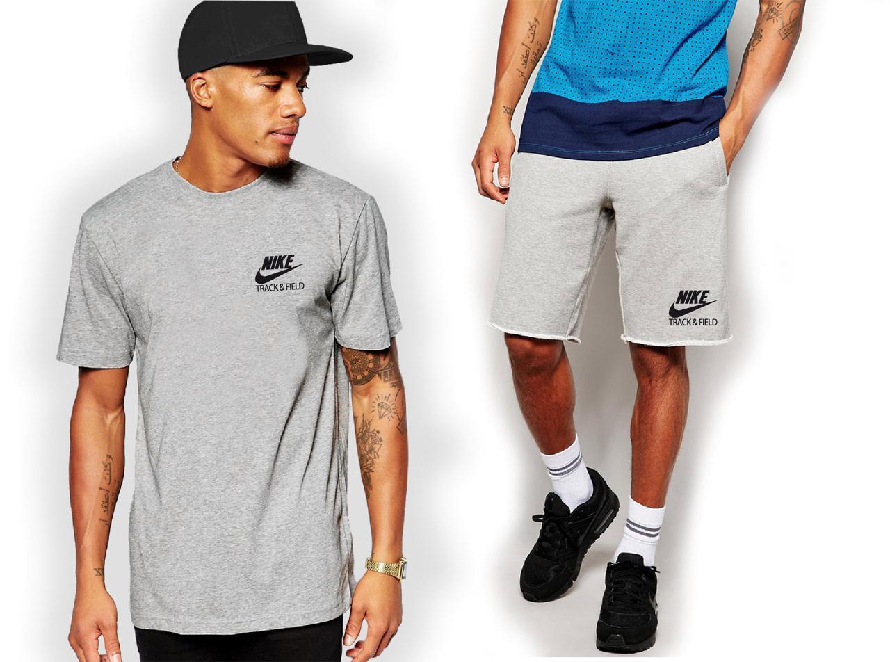 Мужской комплект футболка + шорты Nike серого цвета