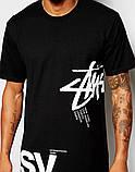 Чоловіча чорна Футболка STUSSY T-Shirt With LArge Logo, фото 2