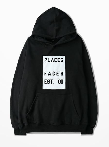 Худи Places+Faces черное с логотипом, унисекс (мужское, женское, детское)