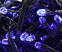 Гирлянда LED200B-7 черный провод и гексагональная лампа (синий) (без возврата, без обмена)