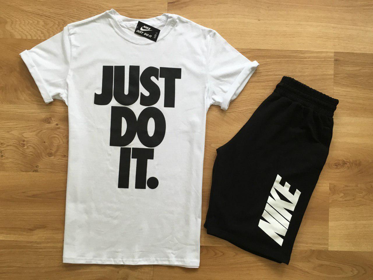 Мужской комплект футболка + шорты Nike белого и черного цвета