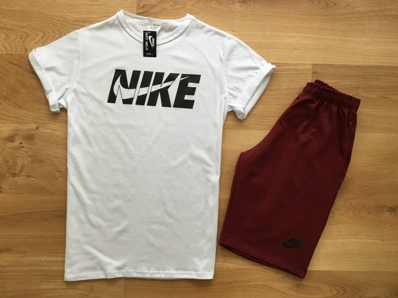 Мужской комплект футболка + шорты Nike белого и красного цвета
