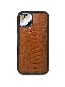 Чехол для iPhone 11 Pro коньячного цвета из кожи Страуса