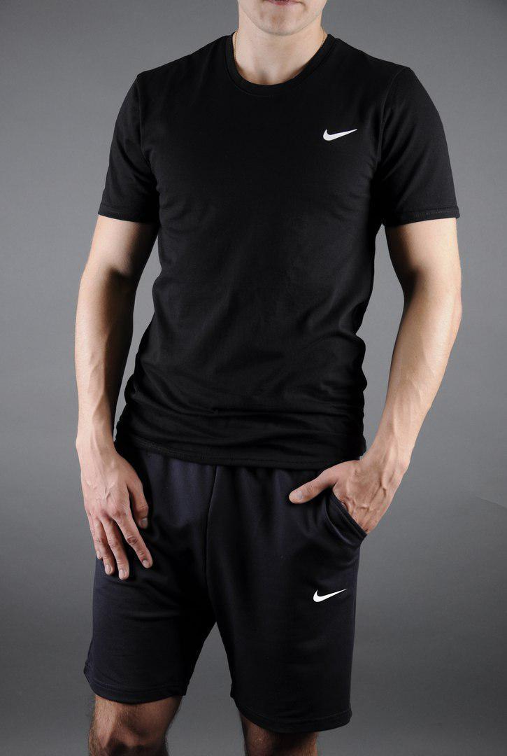 Мужской комплект футболка + шорты Nike черного цвета