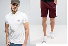 Мужской комплект поло + шорты Nike белого и красного цвета
