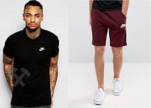 Мужской комплект поло + шорты Nike черного и красного цвета