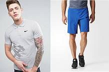 Мужской комплект поло + шорты Nike серого и голубого цвета